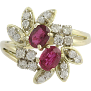 Ruby and Diamond Cocktail Ring - 14k Yellow & White Gold July Gift Genuine 1.30ctw