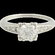 Art Deco Diamond Engagement Ring - 900 Platinum Transitional Cut Fine .93ctw
