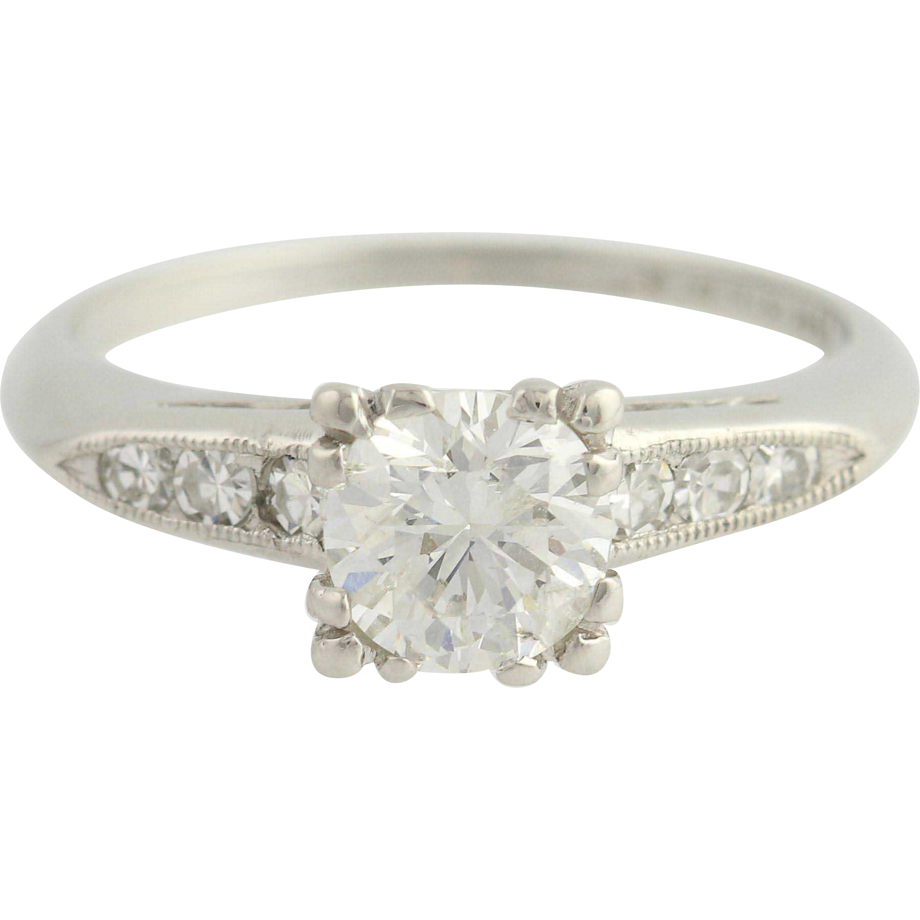 Art Deco Diamond Engagement Ring - 900 Platinum Transitional Cut Fine .93ctw