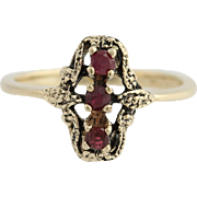 3-Stone Vintage Style Ruby Ring - 10k Yellow Gold Women's Fine Estate 0.24ctw