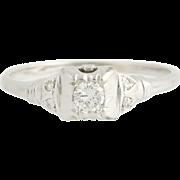 Art Deco Diamond Engagement Ring - 14k White Gold Solitaire w/ Accents .013ctw