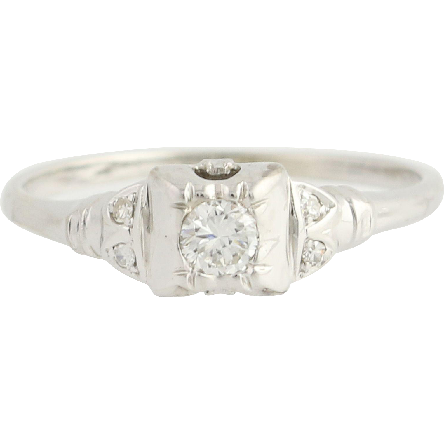 Art Deco Diamond Engagement Ring - 14k White Gold Solitaire w/ Accents .013ctw