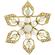 Vintage Opal & Pearl Brooch / Pendant - 14k Yellow Gold October Genuine 1.20ctw