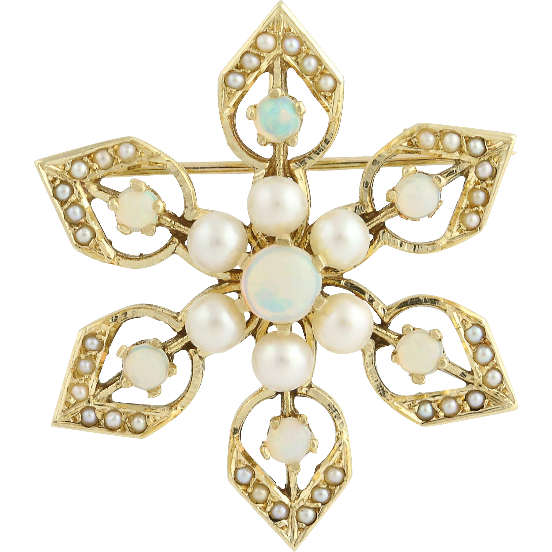 Vintage Opal & Pearl Brooch / Pendant - 14k Yellow Gold October Genuine 1.20ctw