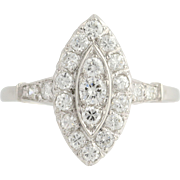 Art Deco Diamond Cocktail Ring - 900 Platinum Women's Size 8 3/4 Genuine 1.03ctw