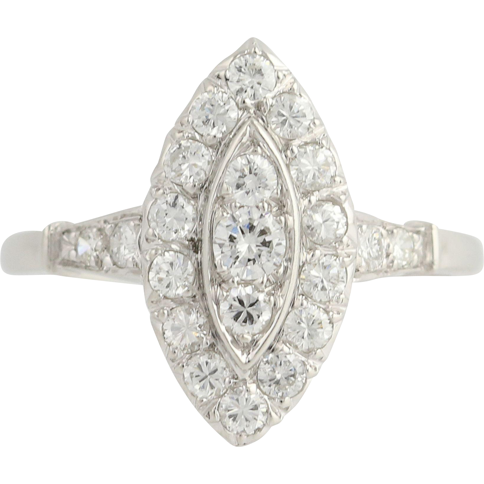 Art Deco Diamond Cocktail Ring - 900 Platinum Women's Size 8 3/4 Genuine 1.03ctw