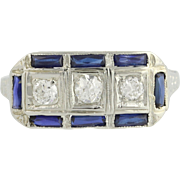Art Deco Diamond & Synthetic Sapphire Ring - 18k White Gold 5 3/4 Fine 1.00ctw