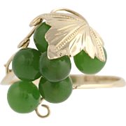 Nephrite Jade Cluster Ring - 18k Yellow Gold Grape Bunch Leaf Women's Vintage