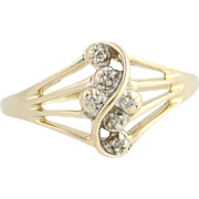 Diamond Cluster Ring - 14k Yellow Gold Women's Bypass Design