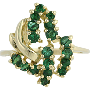 Emerald Cocktail Ring - 14k Yellow Gold Size 6 May Birthstone 1.44ctw