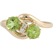 Edwardian Peridot & Diamond Bypass Ring - 10k Yellow Gold August 1.03ctw