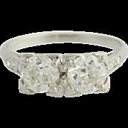 Art Deco Engagement Ring - 900 Platinum Size 5 3/4 Vintage 1.59ctw