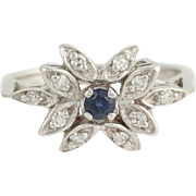 Floral Sapphire & Diamond Ring - 14k White Gold Size 6 Women's .35ctw