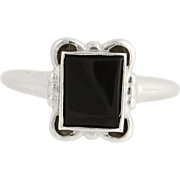 Vintage Onyx Ring - 10k White Gold Women's Size 6 3/4