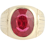 Art Deco Synthetic Red Spinel Ring - 10k Yellow Gold Men's 10 1/4 - 10 1/2
