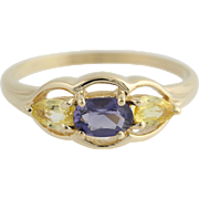 Tanzanite & Yellow Sapphire Ring - 14k Yellow Gold 8 3/4 Women's 1.08ctw