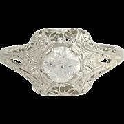 Art Deco Diamond Ring - Platinum L & B European Cut Solitaire Engagement .68ctw