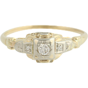 Art Deco Diamond Engagement Ring - 14k Yellow & White Gold .09ctw