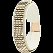 "Victorian Era Seed Pearl Bracelet 7"" - 16k Yellow Gold Antique June Gift"