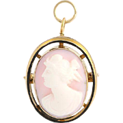 Vintage Carved Pink Shell Cameo Brooch / Pendant - 10k Yellow Gold Convertible