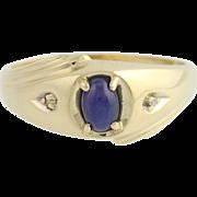 Synthetic Star Sapphire & Diamond Ring - 10k Yellow & White Gold Men's .61ctw