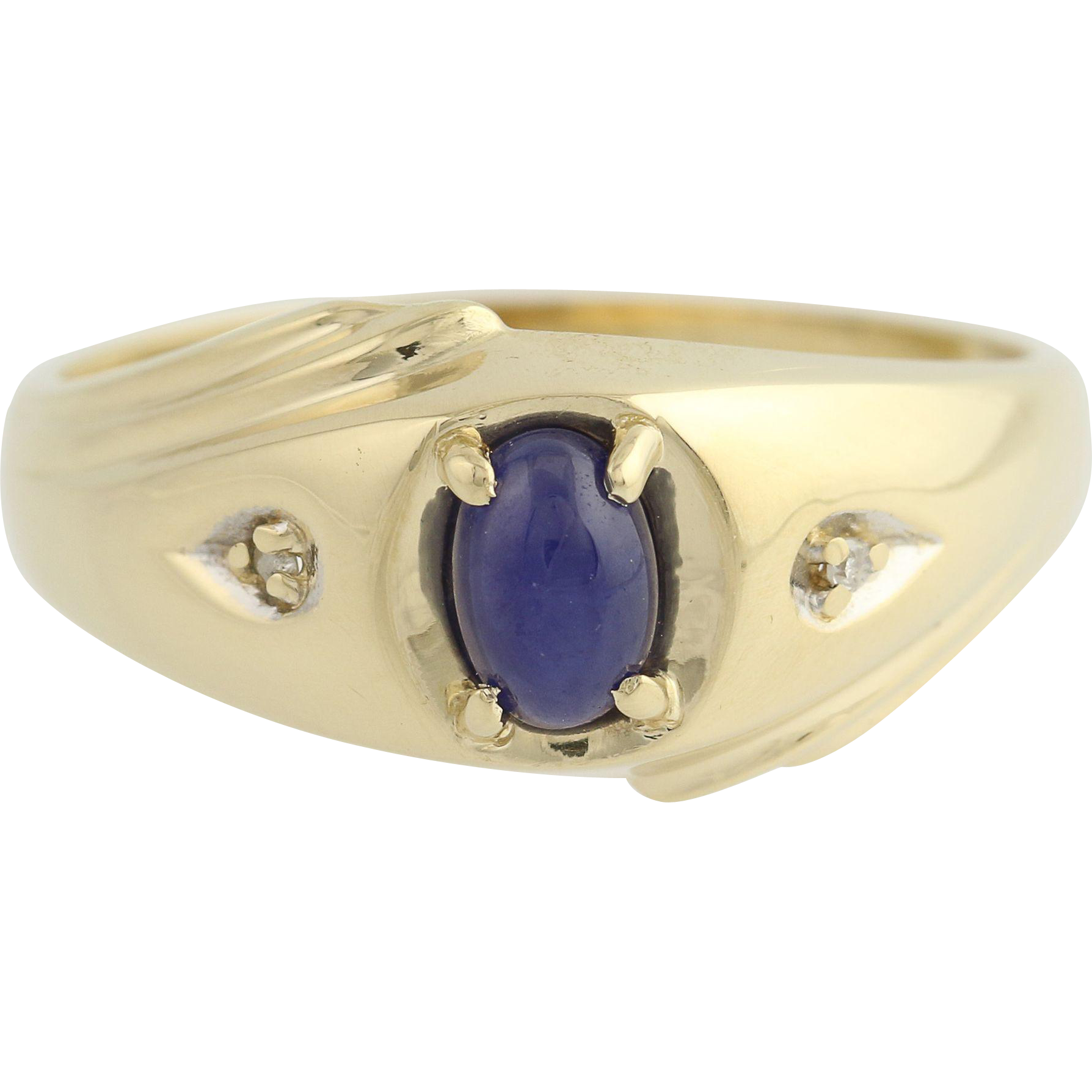 Synthetic Star Sapphire & Diamond Ring - 10k Yellow & White Gold Men's .61ctw