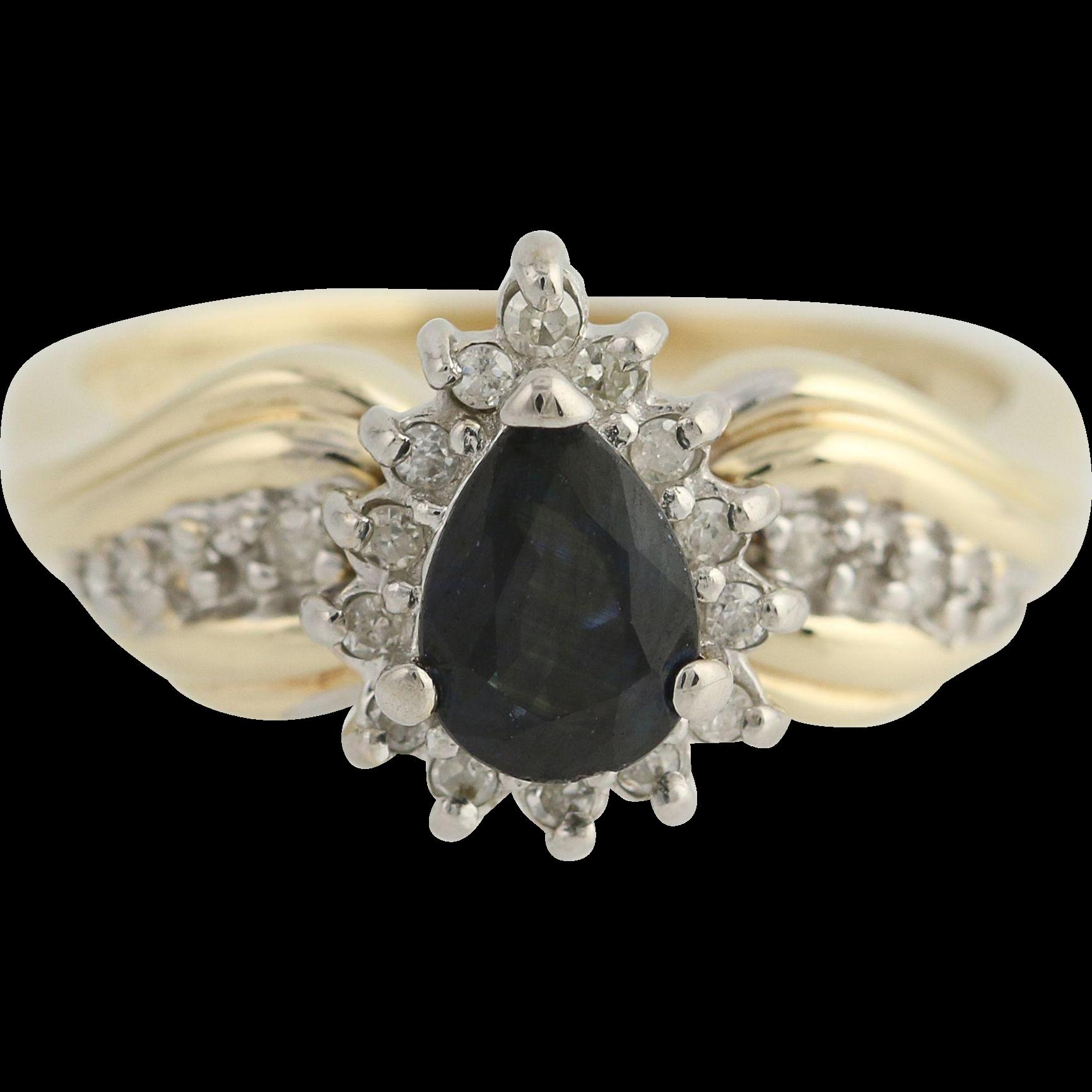 Sapphire & Diamond Ring - 10k Yellow & White Gold September Halo .96ctw