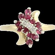 Ruby & Diamond Bypass Ring - 14k Yellow & White Gold April July .86ctw