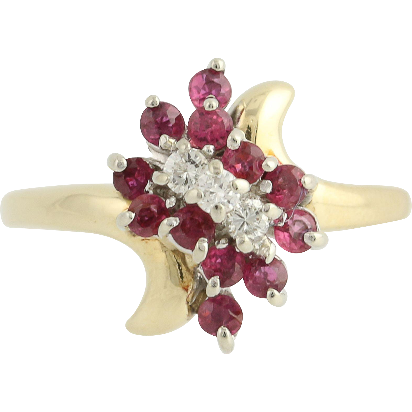 Ruby & Diamond Bypass Ring - 14k Yellow & White Gold April July .86ctw
