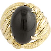 Vintage Onyx Cocktail Ring - 12k Yellow Gold Textured Women's