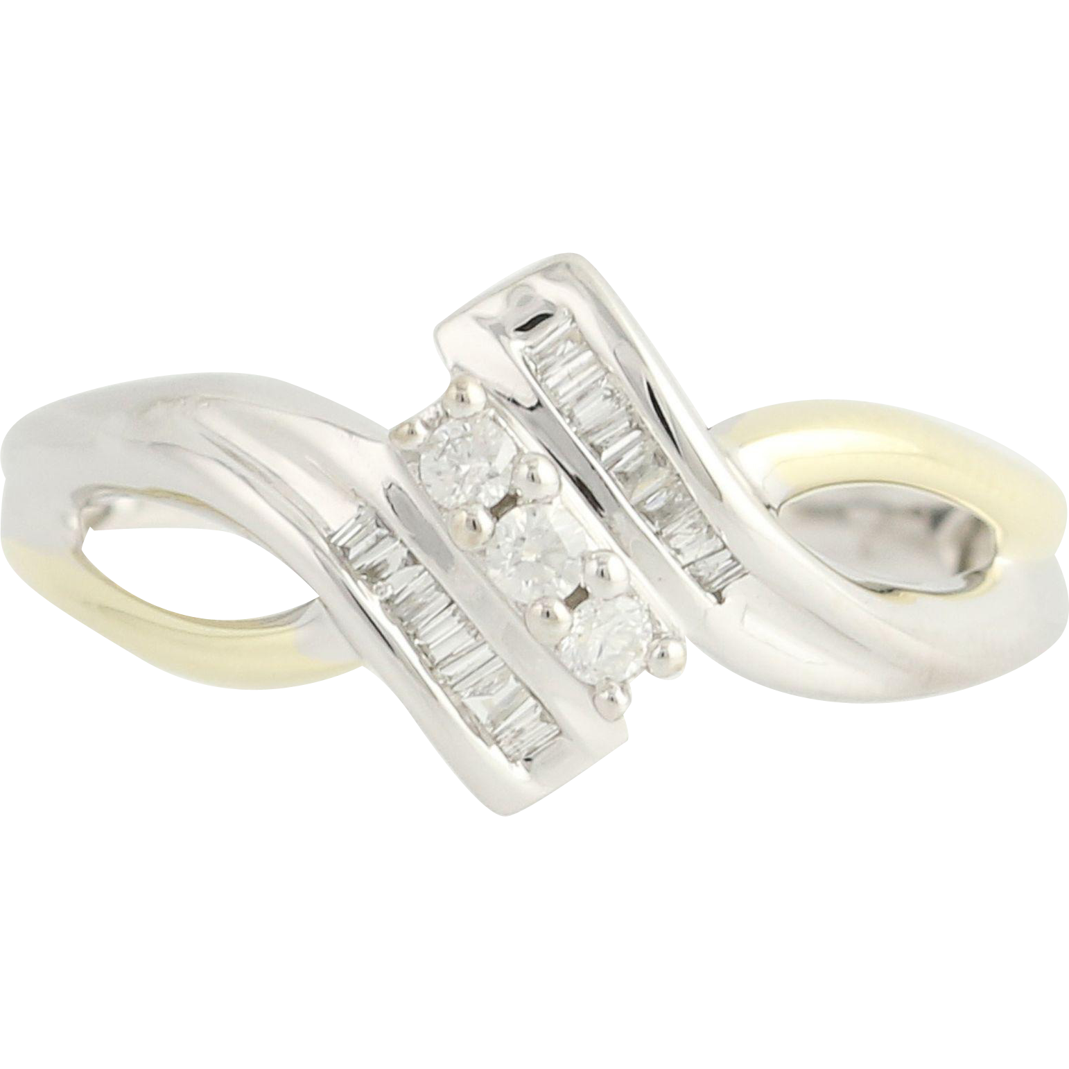 Diamond Ring - 10k White & Yellow Gold Womne's 8 1/4 Bypass .20ctw