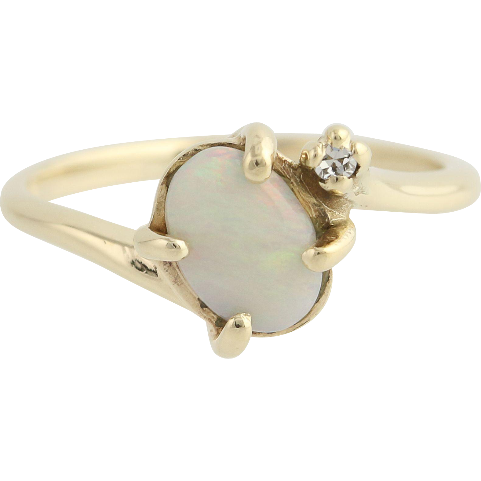 Opal & Diamond Bypass Ring - 10k Yellow Gold October .42ctw