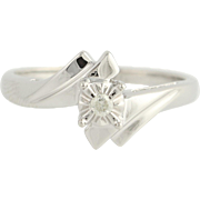 Diamond Bypass Ring - 10k White Gold Solitaire Women's .05ct