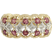 Ruby & Diamond Ring - 14k Yellow & White Gold July Birthstone 1.16ctw