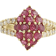 Ruby & Diamond Cluster Cocktail Ring - 10k Yellow Gold July 1.62ctw