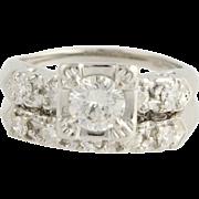 Retro Diamond Engagement Ring & Wedding Band - 14k White Gold Vintage 1.15ctw