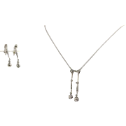 "Art Deco Diamond Earrings & Necklace Set 16"" 14k White Gold Non-Pierced 1.39ctw"