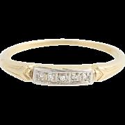 Art Deco Diamond Wedding Band - 14k Yellow & White Gold Vintage .03ctw