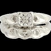 Vintage Engagement Ring & Wedding Band - 14k White Gold .02ct