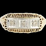 Vintage Diamond Ring - 10k Gold Filigree Light Brown 0.08ctw