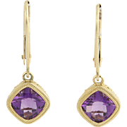 Amethyst Dangle Earrings - 14k Yellow Gold Women's Pierced Solitaire 1.64ctw