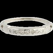 Vintage Diamond Wedding Band - 18k White Gold Women's Ring .10ctw