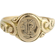 Vintage Baby Signet Ring - 10k Yellow Gold Initial R Size 1 3/4