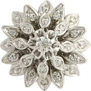 Vintage Diamond Cocktail Ring - 14k White Gold Tiered Floral .44ctw