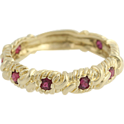 Ruby Ring - 14k Yellow Gold Textured July Birthstone .96ctw