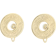 Floral Disc Earrings - 14k Yellow Gold Screw-On Closures Non-Pierced