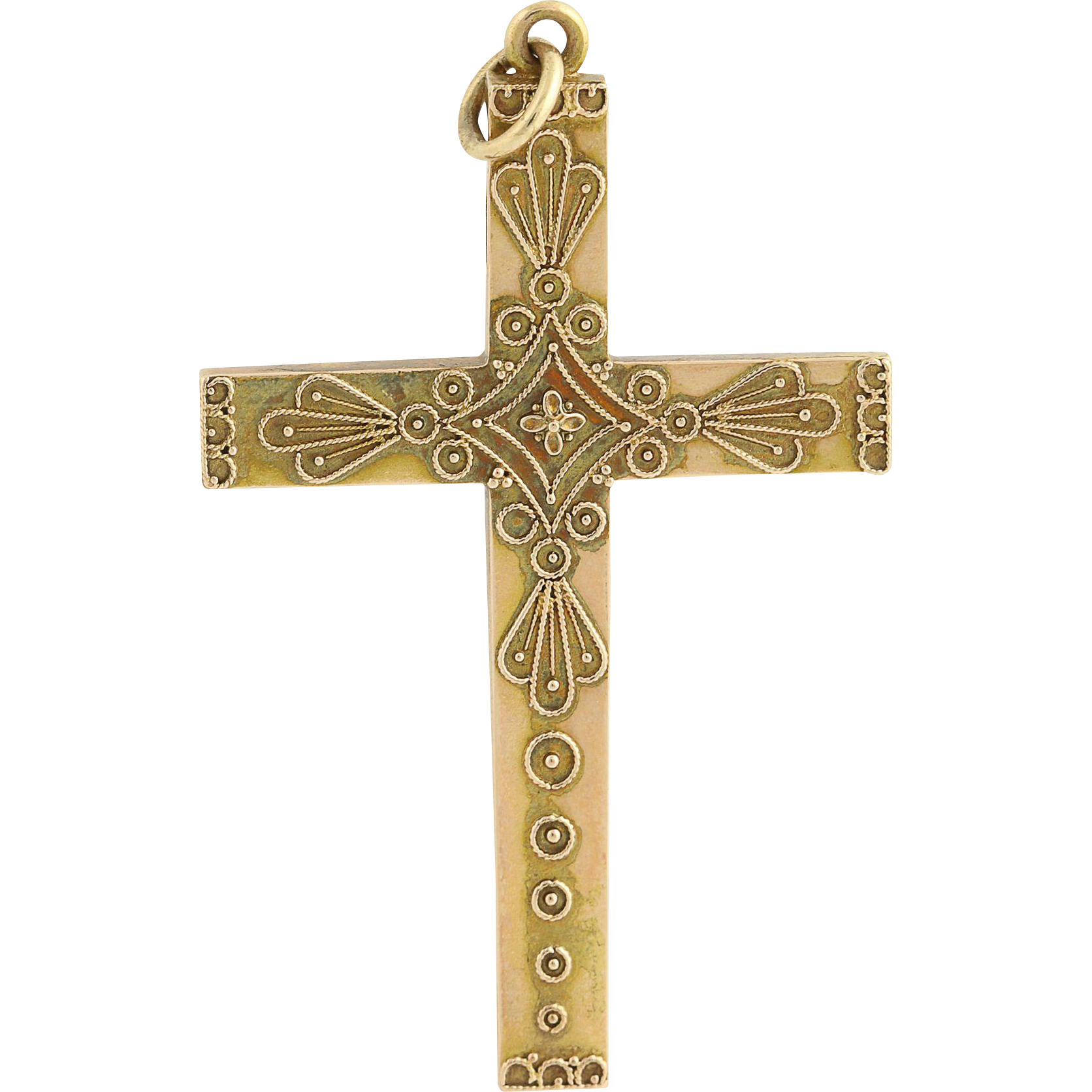 Victorian Etruscan Revival Cross Pendant - 14k Yellow Gold Antique