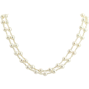 "Double Strand Pearl Necklace 15 1/2"" - 14k Yellow Gold Cultured & Keshi June"
