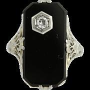 Art Deco Onyx & Diamond Ring - 18k White Gold Vintage .10ct