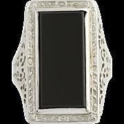 Art Deco Onyx Filigree Ring - 14k White Gold Vintage Statement Black Stone